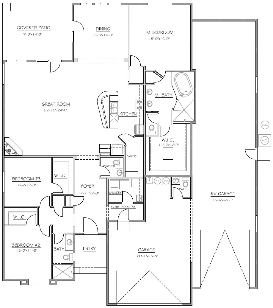 Lake havasu home builder tom burns builders havasu for Garage floor plans